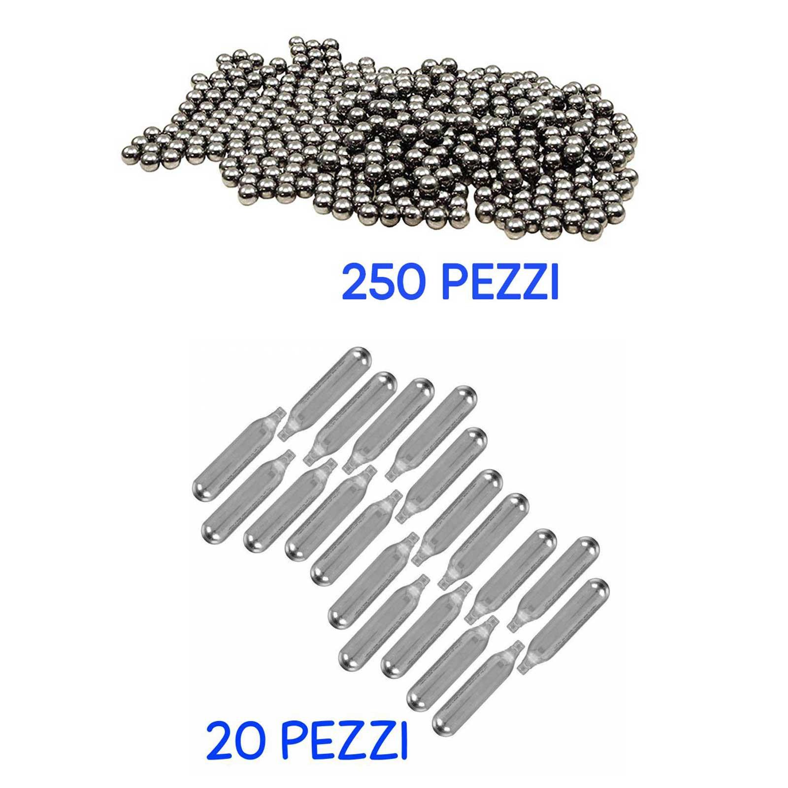 Kit da Softair Sport 20 Bombolette Ricarica CO2 + 250 Pallini Metallo 6 mm Lucide