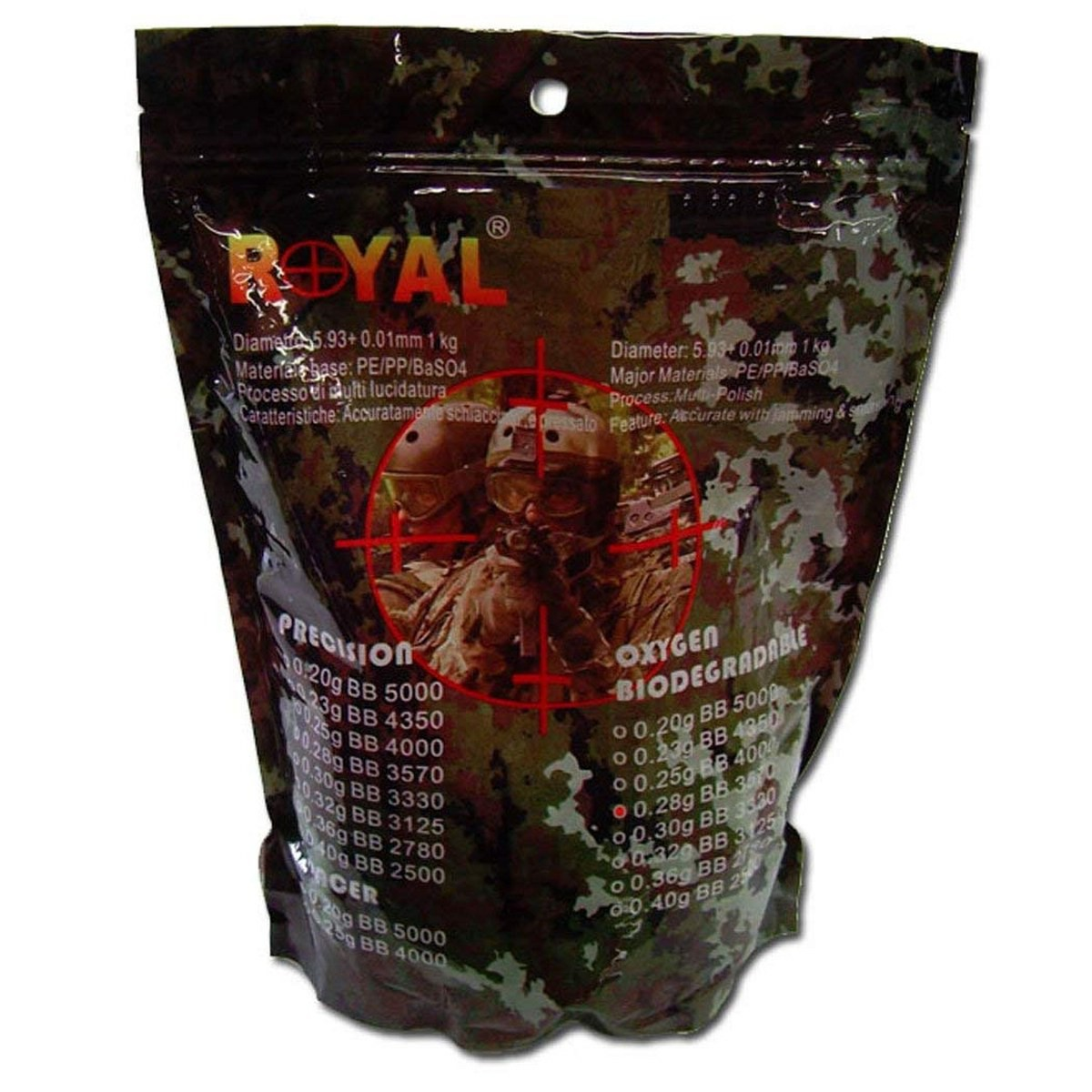 Pallini Softair Peso 0.28gr Biodegradabili Diametro 5,95mm Multi Lucidatura 1Kg