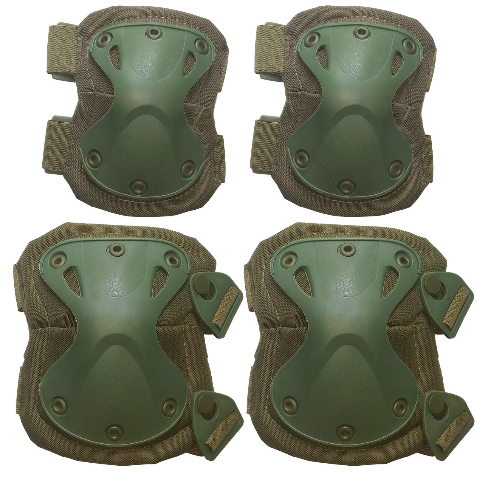 Set Ginocchiere Gomitiere Protezione Rigide Verdi per Softair Exagon